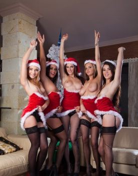 A Christmas Orgy with Candy Alexa, Nataly Von, Tiffany Doll and More-0