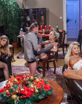 Sexy Trio of Pornstars Enjoy a Holiday Dinner and Then Sex-9