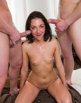 Teen Slut Leona is Stuffed by Two Fat Cocks-9