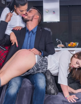 Schoolgirls Apolonia and Zoe Doll Are Punished With a Threeway-2