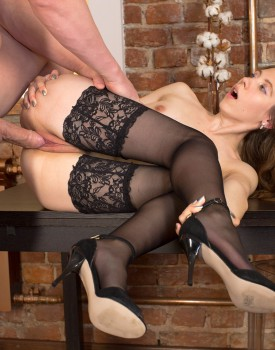 Russian Teen Stefany Gets Banged in Stockings-8