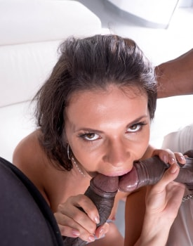 Verona Sky, her first interracial trio comes with double vaginal -2