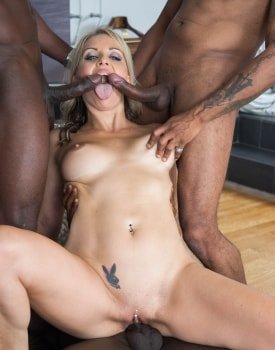 MILF Julia Pink Stars in Her First Interracial Gangbang-7