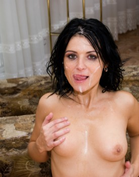 Sexy Brunette Patricia Gets DP and Bukkake -11